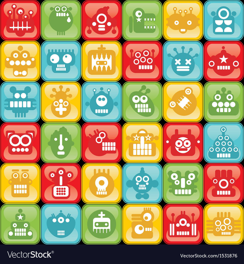 Robots on buttons vector | Price: 1 Credit (USD $1)