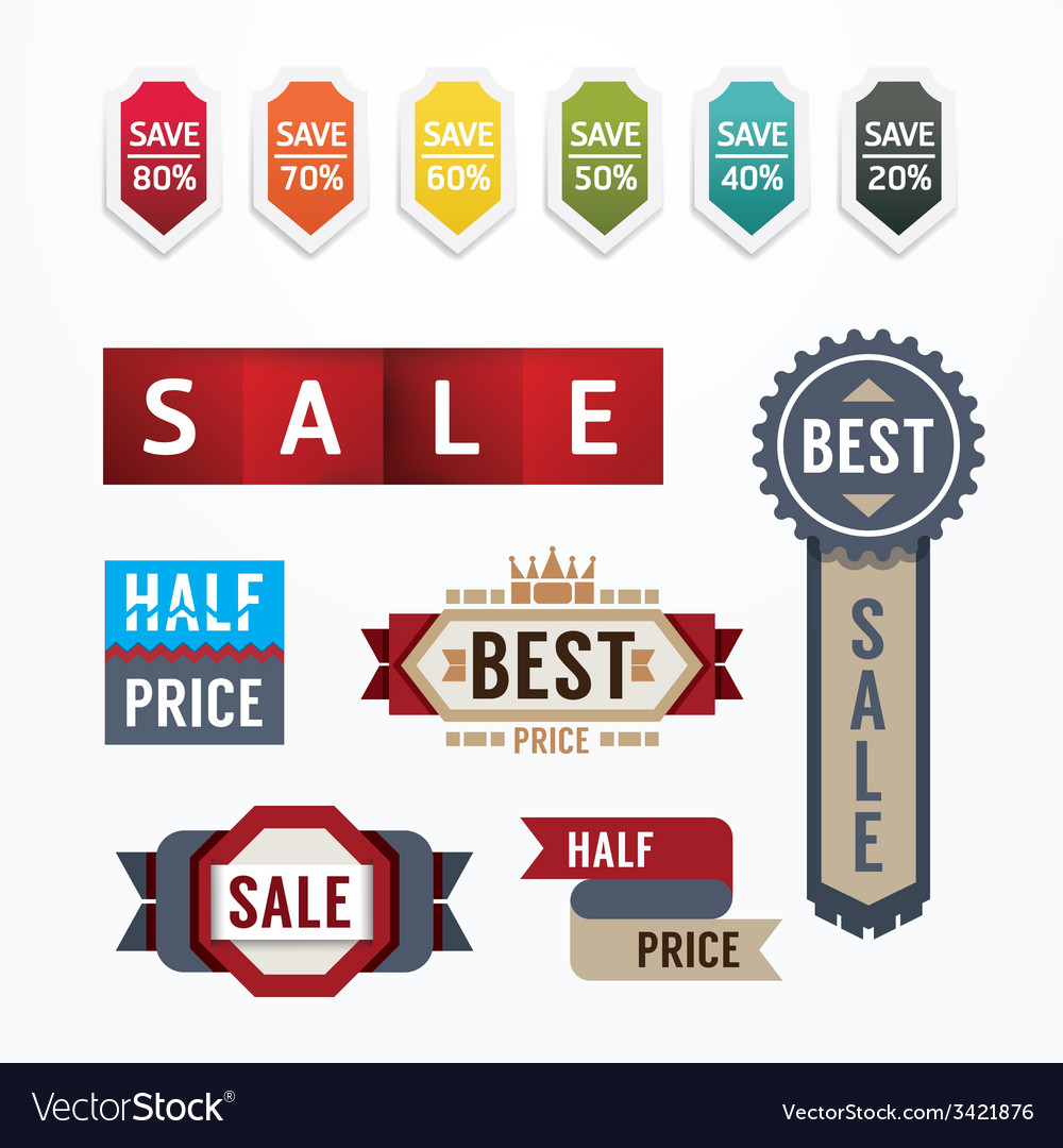 Sale tags banners set design concept vector | Price: 1 Credit (USD $1)