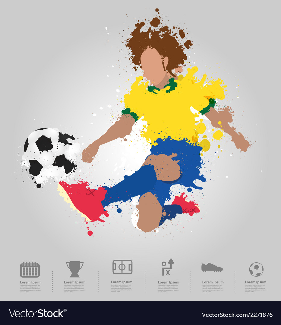 Soccer player kicks the ball with paint splatter vector | Price: 1 Credit (USD $1)