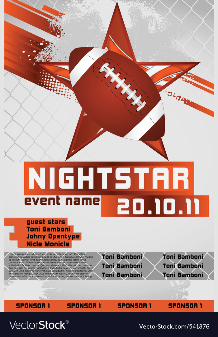 Sport event poster football vector | Price: 1 Credit (USD $1)