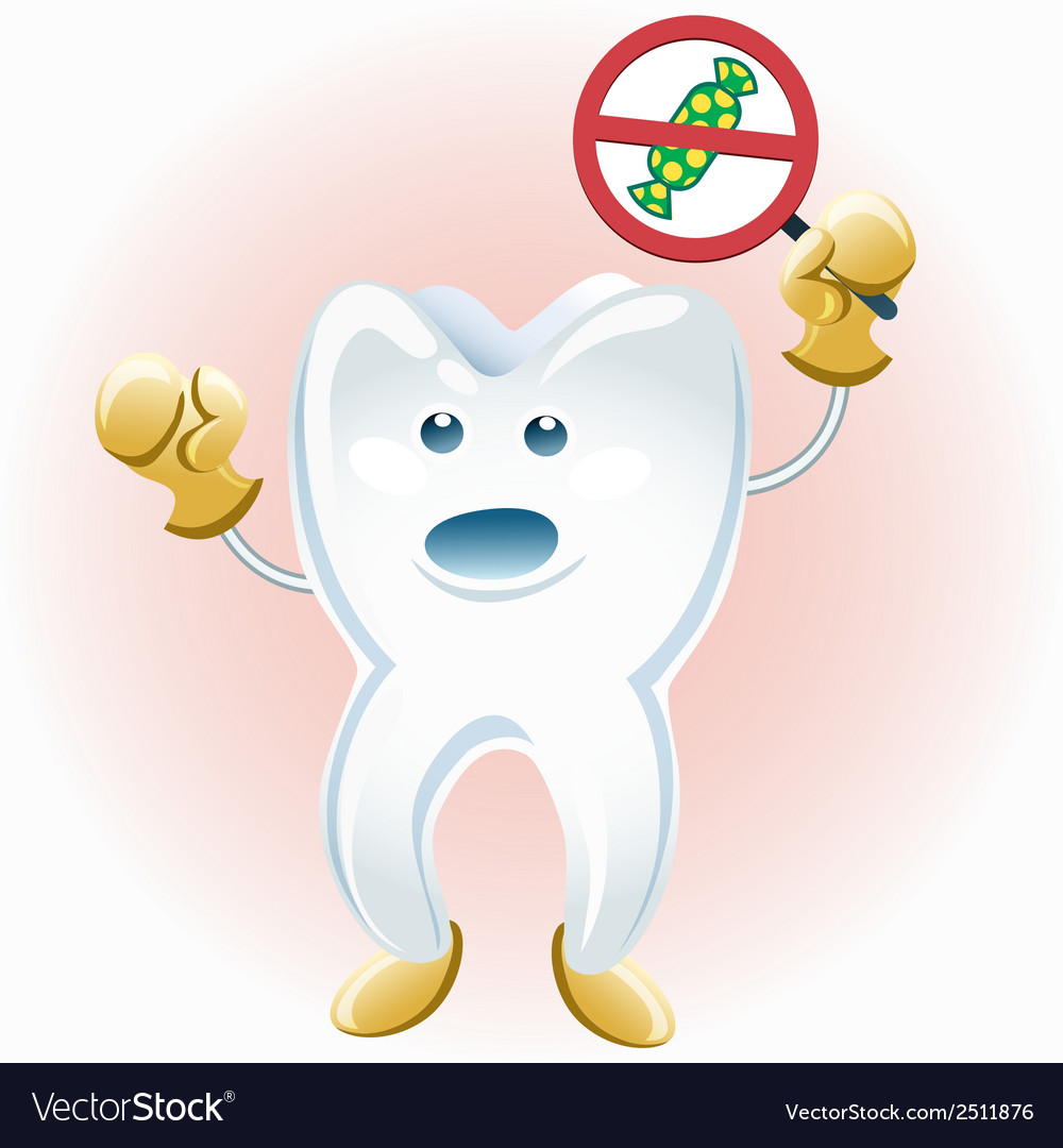 Tooth protesting against candies vector | Price: 1 Credit (USD $1)