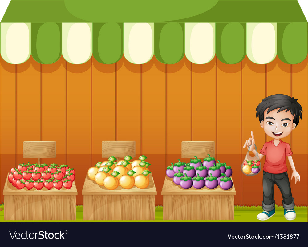 A fruit shop with a young boy wearing a red shirt vector | Price: 1 Credit (USD $1)