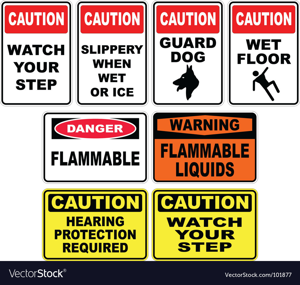 Caution signs vector | Price: 1 Credit (USD $1)