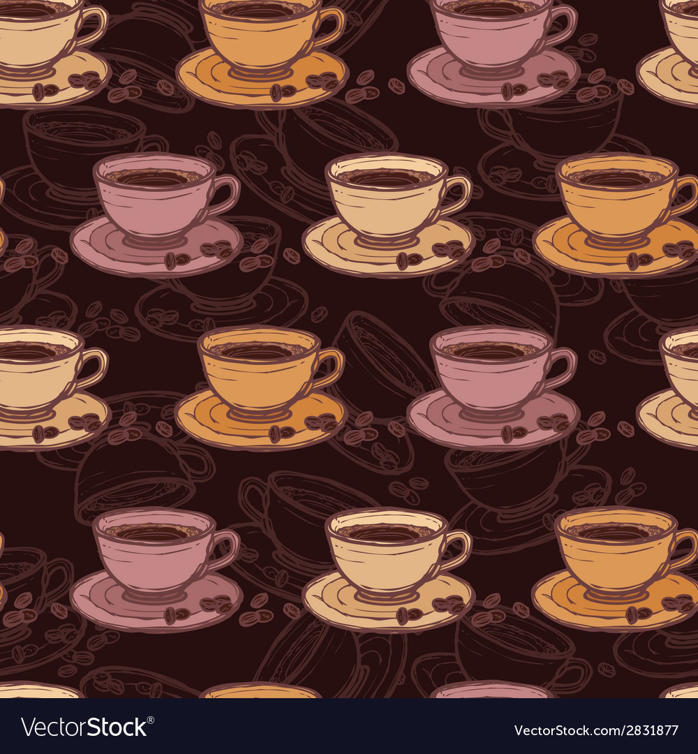 Coffee sketch seamless pattern vector | Price: 1 Credit (USD $1)