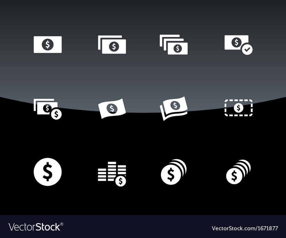 Dollar banknote icons on black background vector | Price: 1 Credit (USD $1)