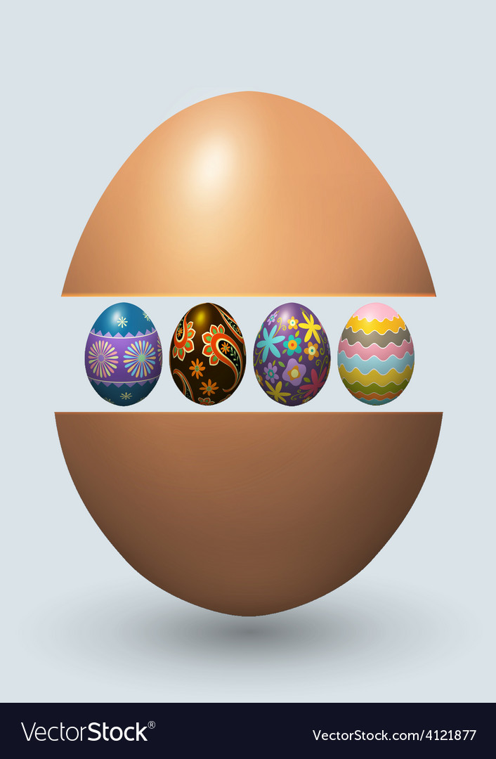 Easter eggs greeting card vector | Price: 3 Credit (USD $3)