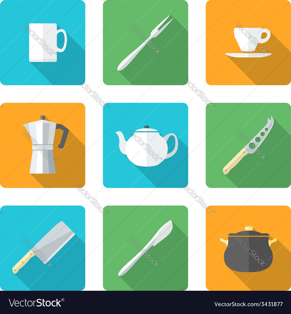 Flat dinnerwarwe icons set vector | Price: 1 Credit (USD $1)