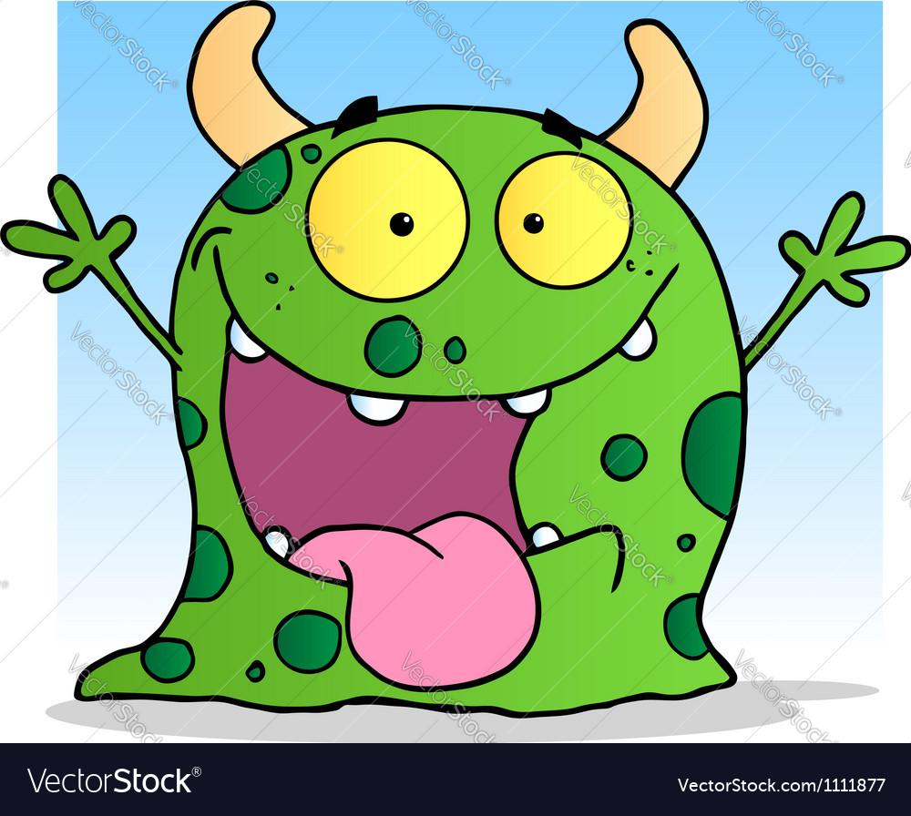 Happy little monster cartoon character vector | Price: 1 Credit (USD $1)