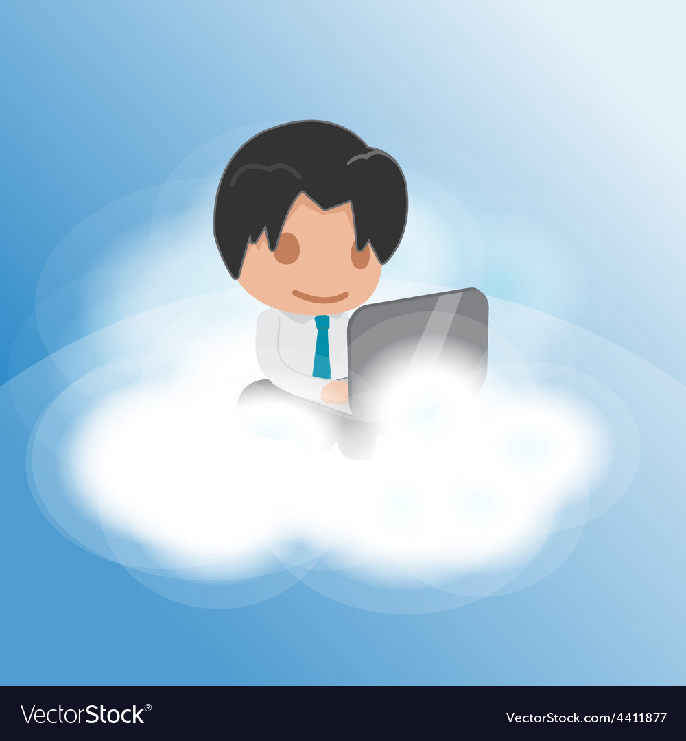 Man work cloud funny float vector | Price: 1 Credit (USD $1)