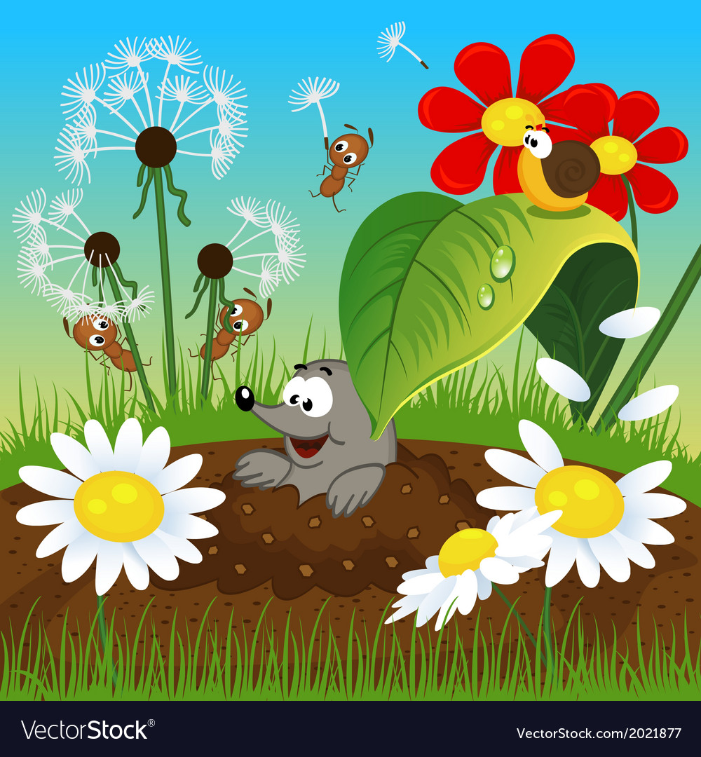 Mole in the ground and insects vector | Price: 1 Credit (USD $1)