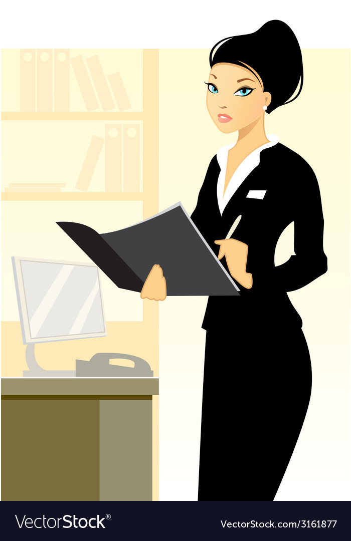 Secretary in office vector | Price: 1 Credit (USD $1)