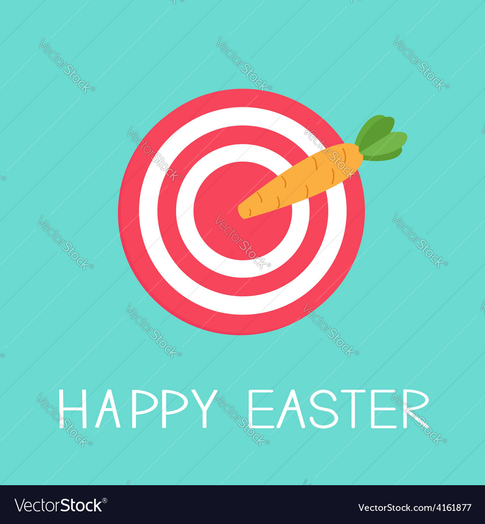 Target with carrot arrow happy easter card flat vector | Price: 1 Credit (USD $1)