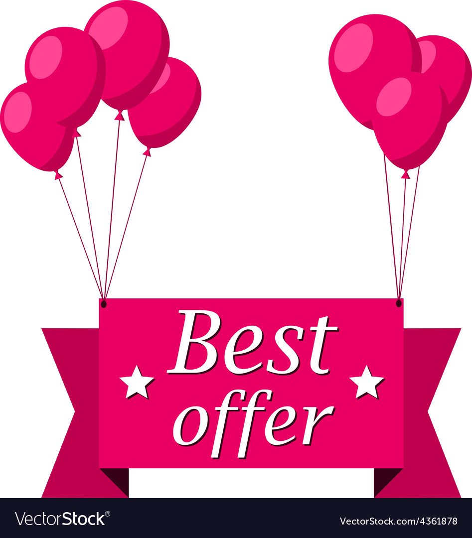 Best offer pink flat ribbon with balloons vector   Price: 1 Credit (USD $1)