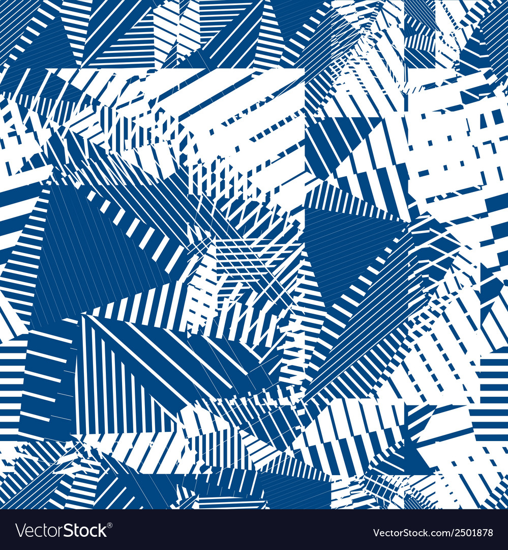 Blue geometric tiles seamless pattern single color vector | Price: 1 Credit (USD $1)
