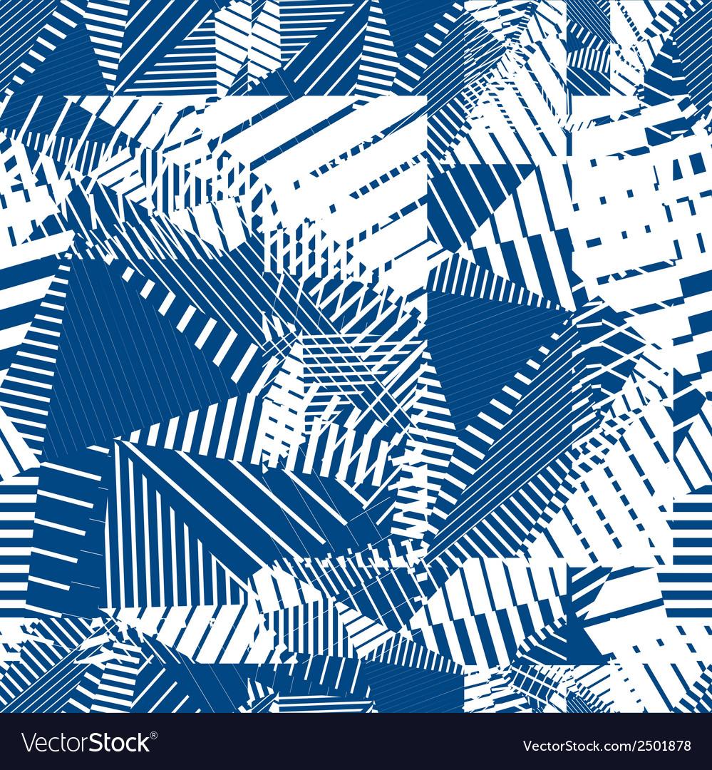 Blue geometric tiles seamless pattern single color vector | Price: 1 Credit (USD $1)