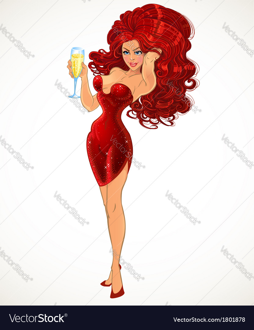 Girl in red with champagne in full growth vector | Price: 3 Credit (USD $3)