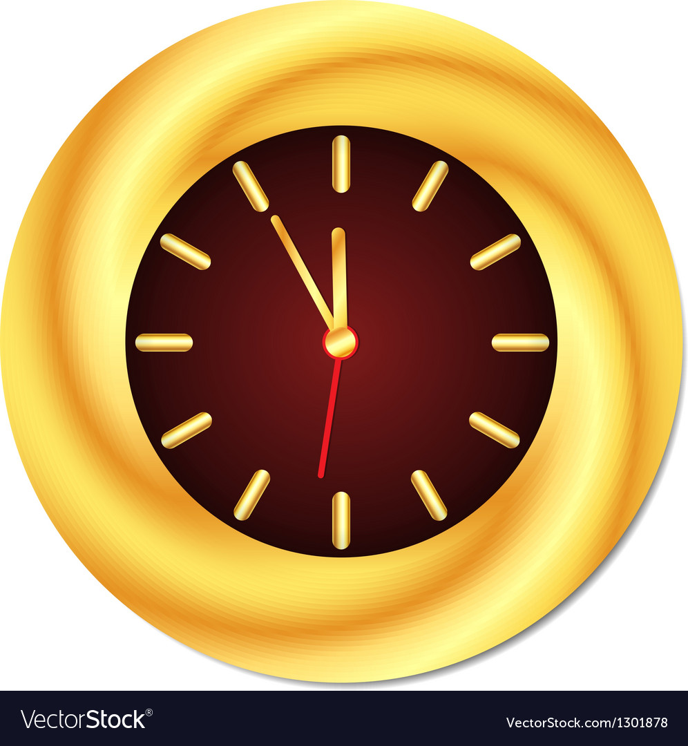 Golden clock midnight midday isolated vector | Price: 1 Credit (USD $1)
