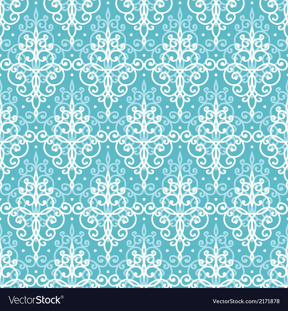 Light blue swirls damask seamless pattern vector | Price: 1 Credit (USD $1)