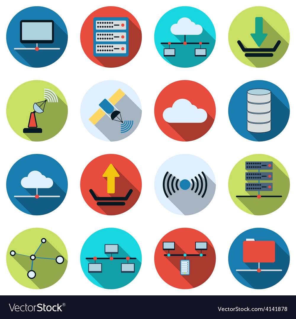Network flat icons vector | Price: 1 Credit (USD $1)