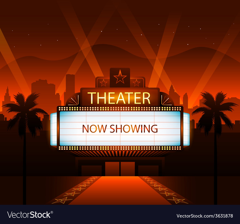 Now showing theater movie banner sign vector | Price: 3 Credit (USD $3)