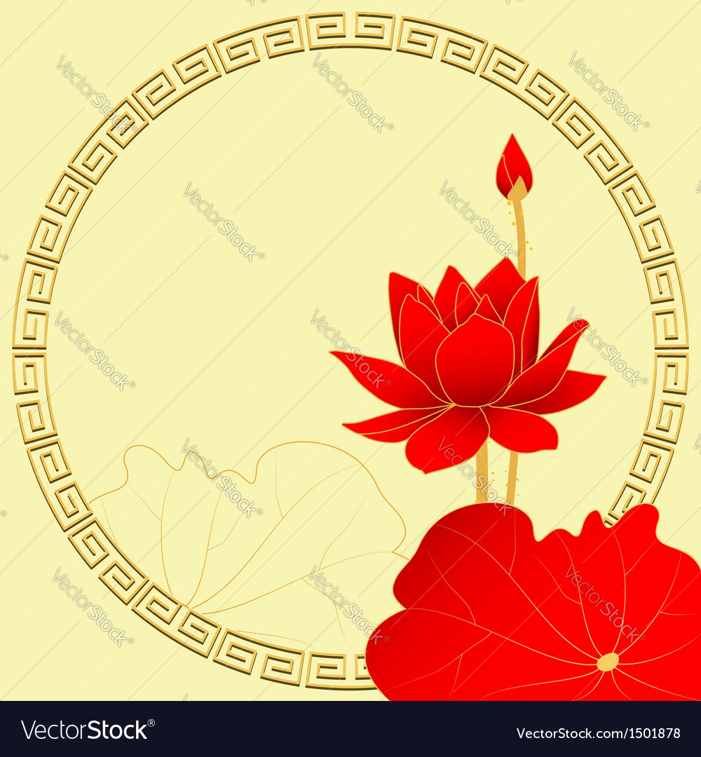 Oriental lotus flower background vector | Price: 1 Credit (USD $1)