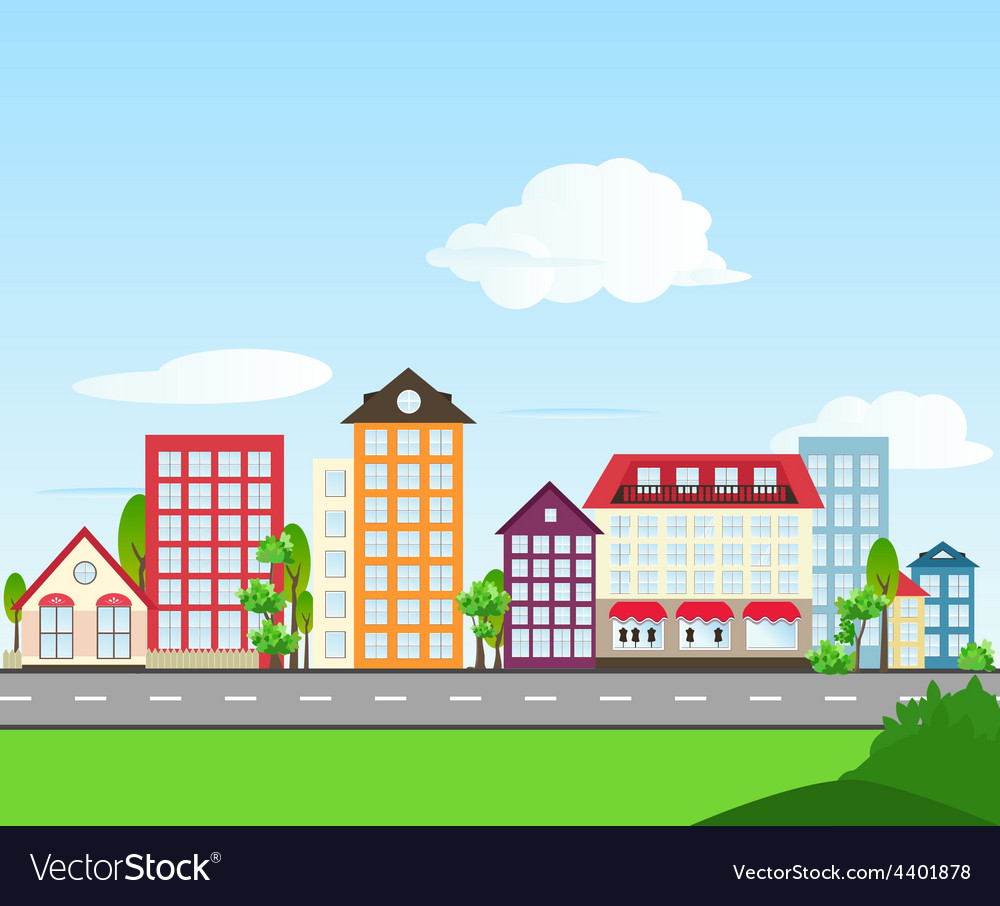 Road color house day vector   Price: 1 Credit (USD $1)
