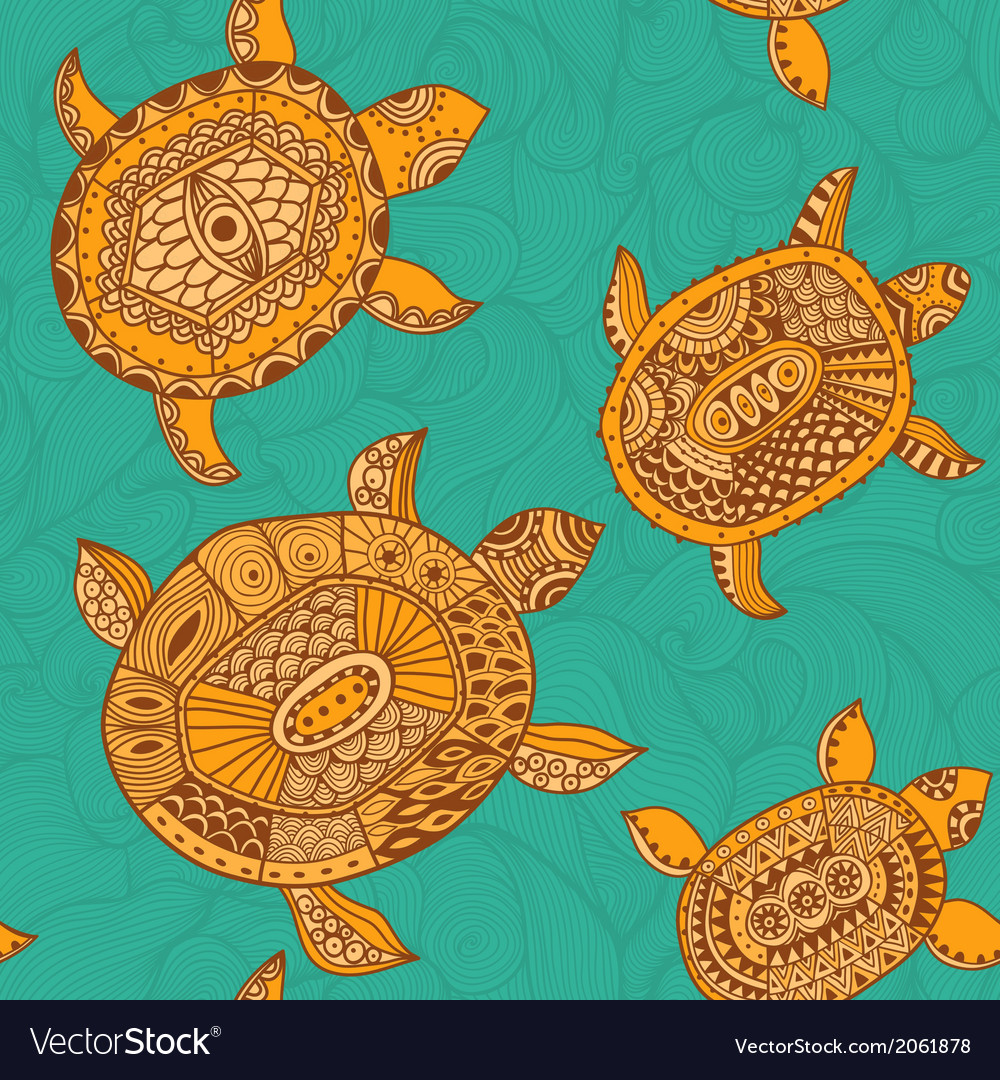 Seamless pattern with turtles seamless pattern can vector | Price: 1 Credit (USD $1)