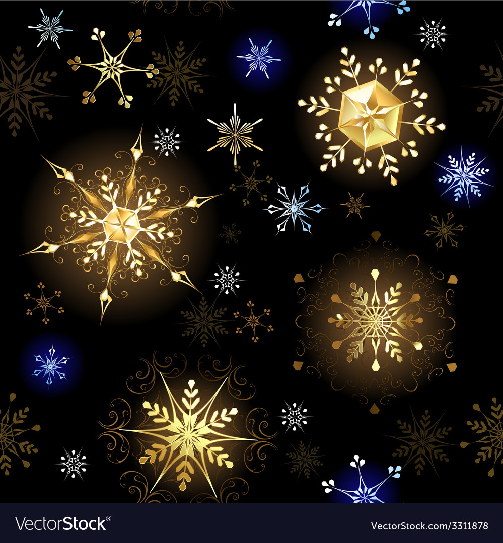 Seamless with golden snowflakes vector | Price: 1 Credit (USD $1)