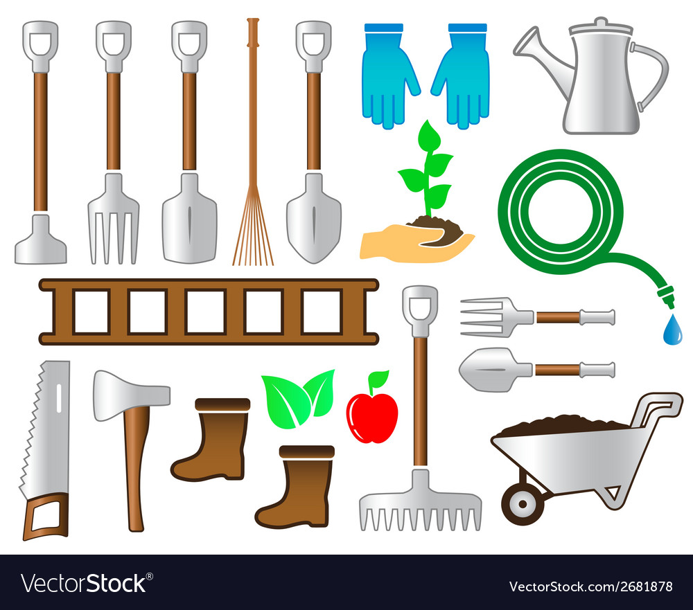 Set colorful tools for gardening landscaping vector | Price: 1 Credit (USD $1)