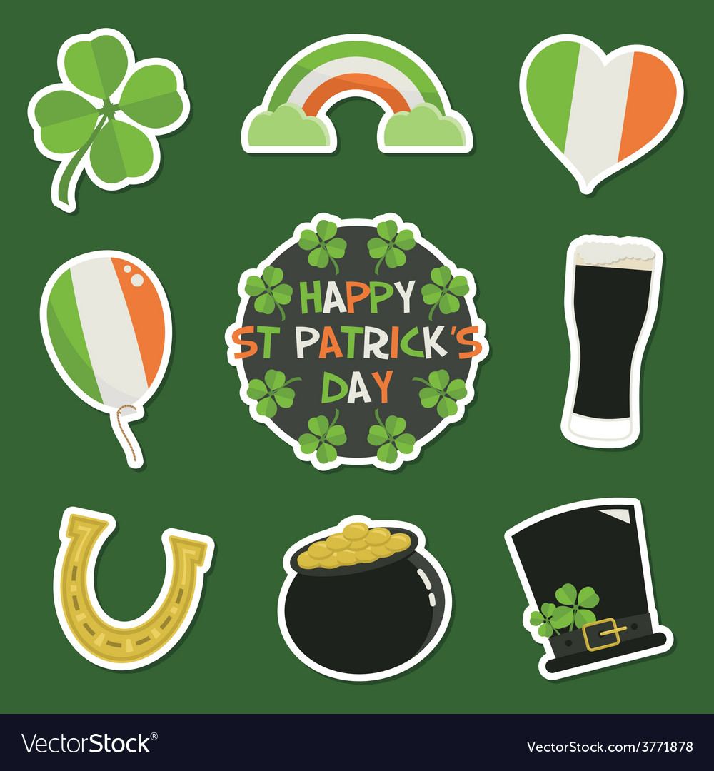 St patricks day stickers vector | Price: 1 Credit (USD $1)