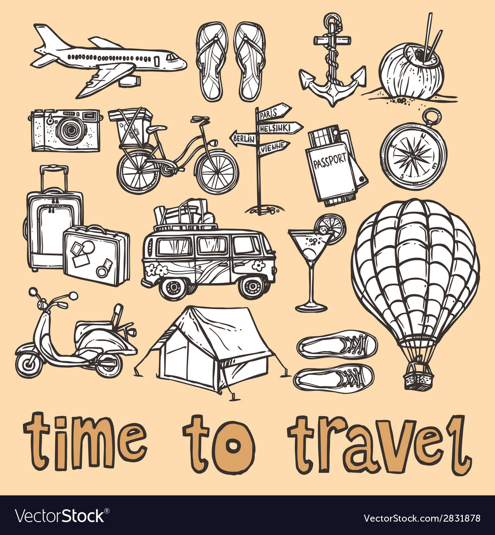Travel sketch icons set vector | Price: 1 Credit (USD $1)