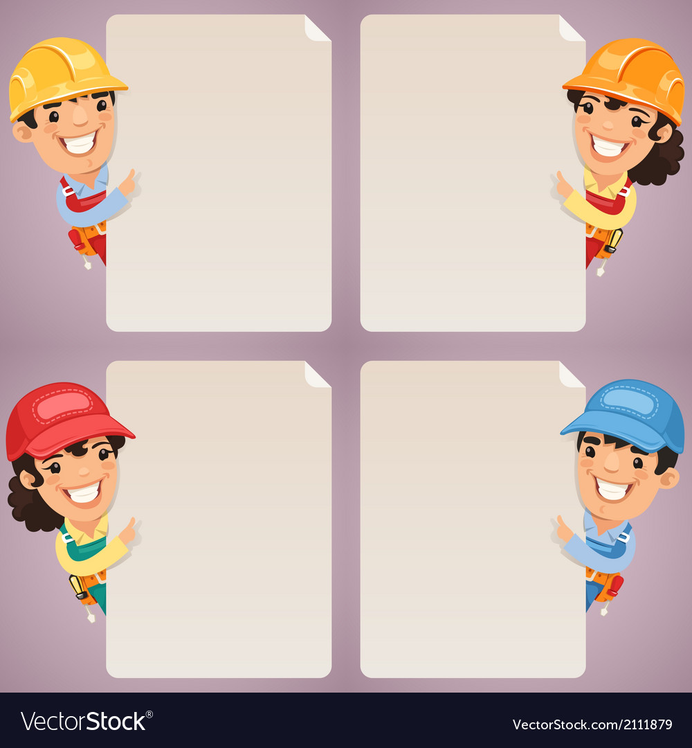 Builders cartoon characters looking at blank vector | Price: 1 Credit (USD $1)