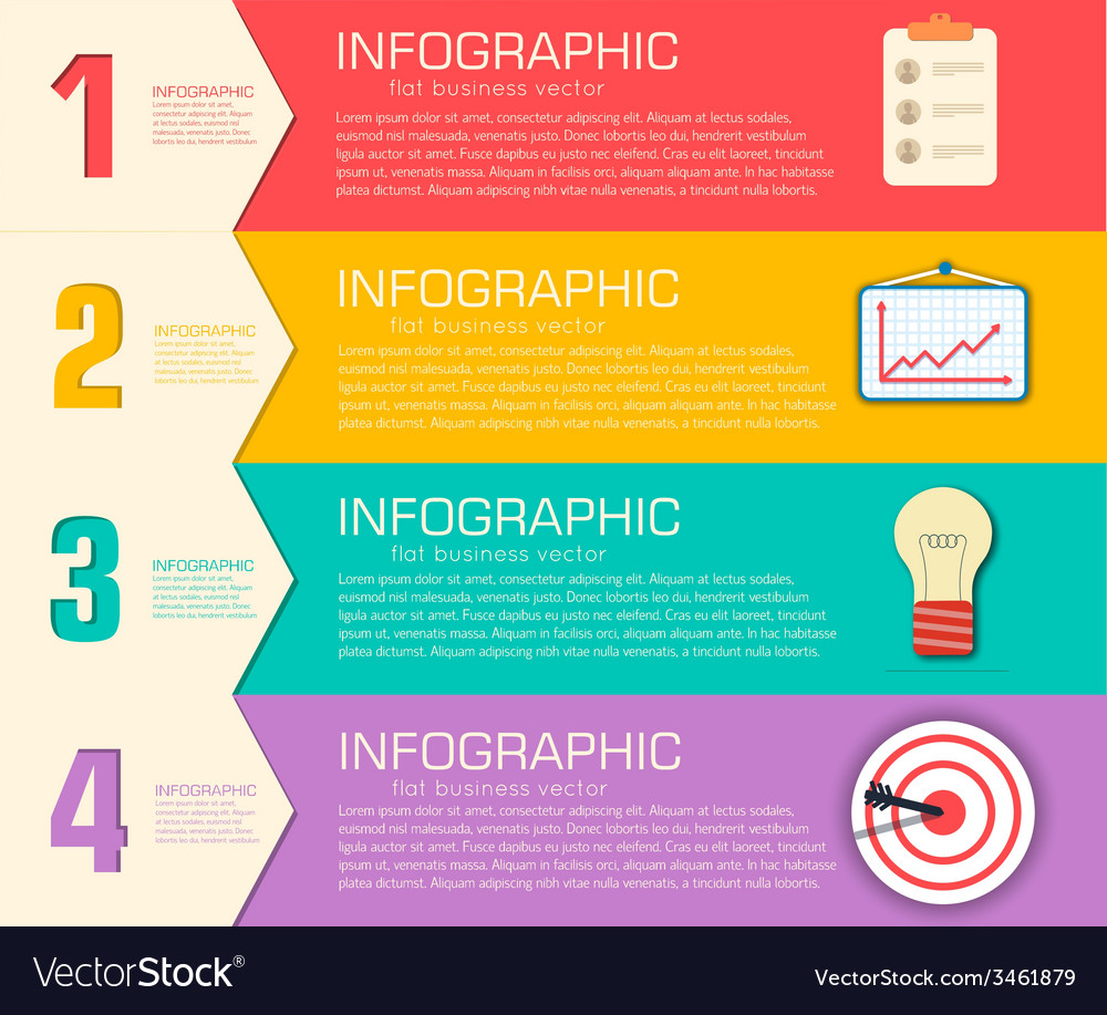 Business flat infographic template with text vector   Price: 1 Credit (USD $1)