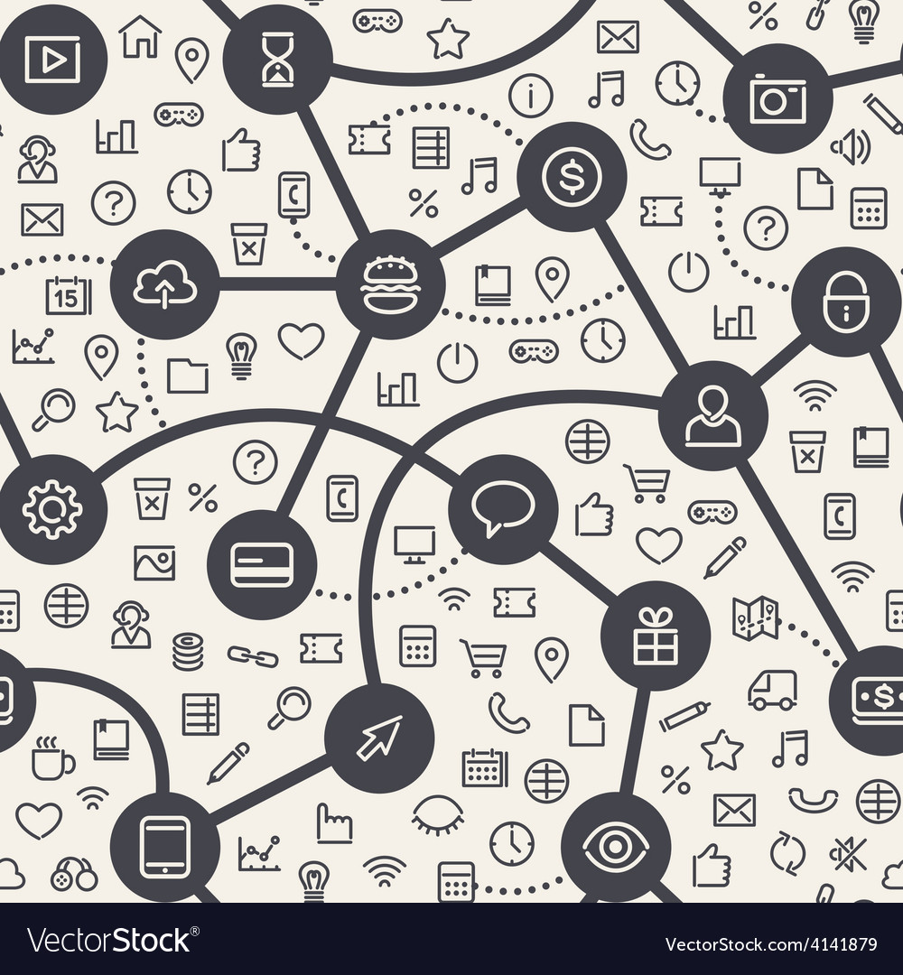 Contrasty light seamless pattern with web icons vector   Price: 1 Credit (USD $1)