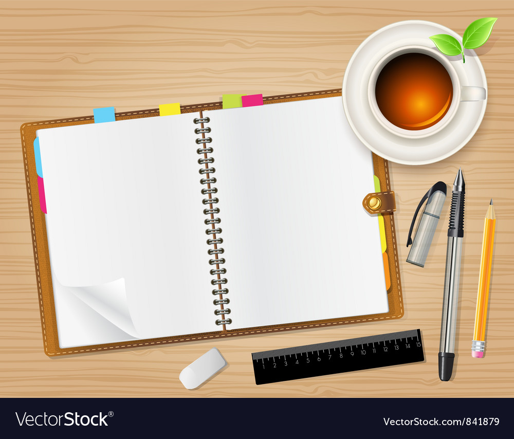 Diary on table vector | Price: 3 Credit (USD $3)