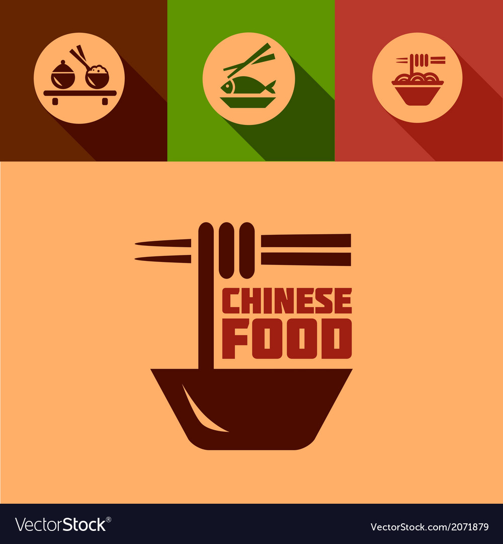 Flat chinese food design elements vector | Price: 1 Credit (USD $1)