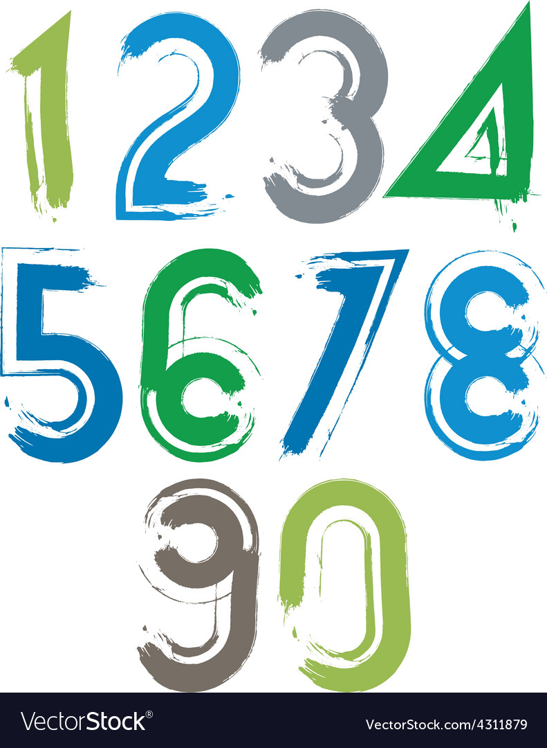 Handwritten numbers isolated on white background vector | Price: 1 Credit (USD $1)