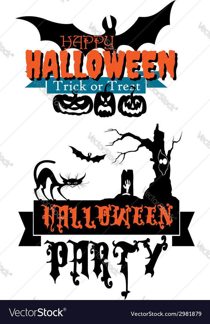 Happy halloween party banners vector | Price: 1 Credit (USD $1)