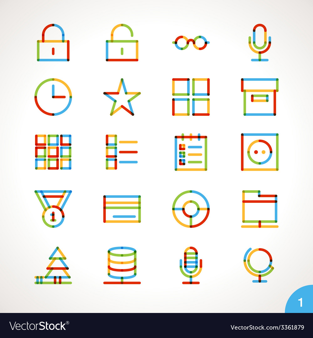 Highlighter line icons set 1 vector | Price: 1 Credit (USD $1)