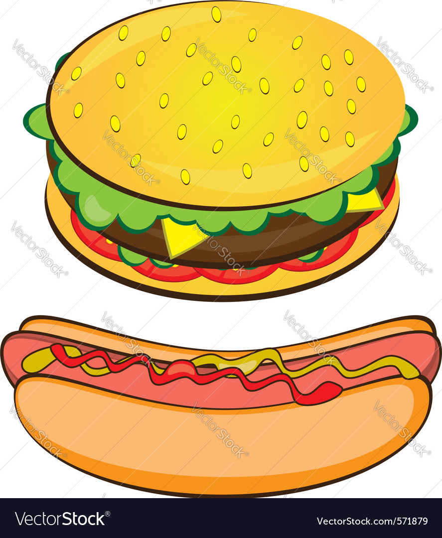 Hotdog and burger on white background vector | Price: 1 Credit (USD $1)