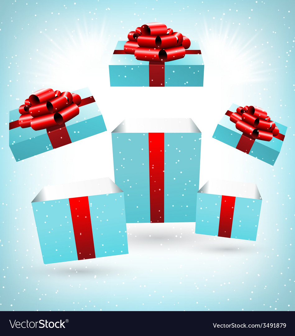 Opened blue gift boxes on blue vector | Price: 1 Credit (USD $1)