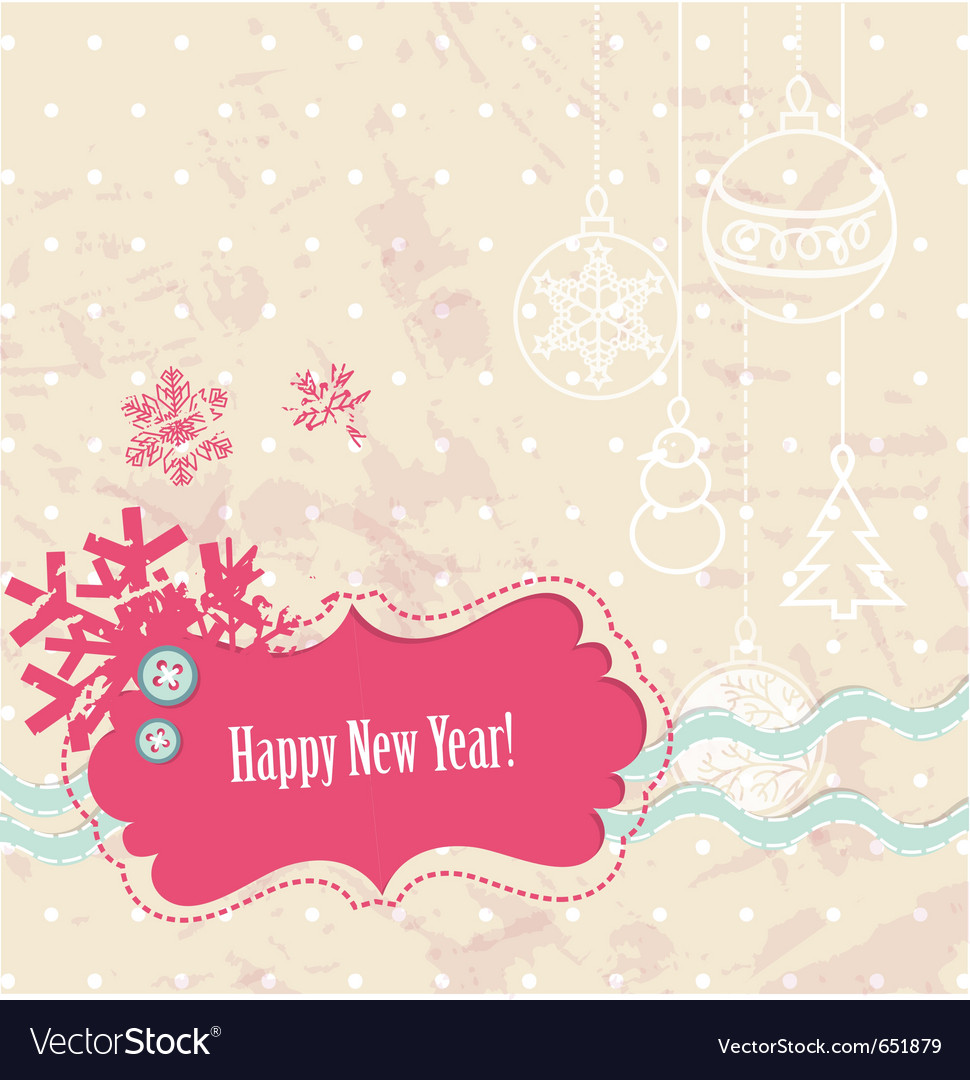 Scrapbook new year card vector | Price: 1 Credit (USD $1)