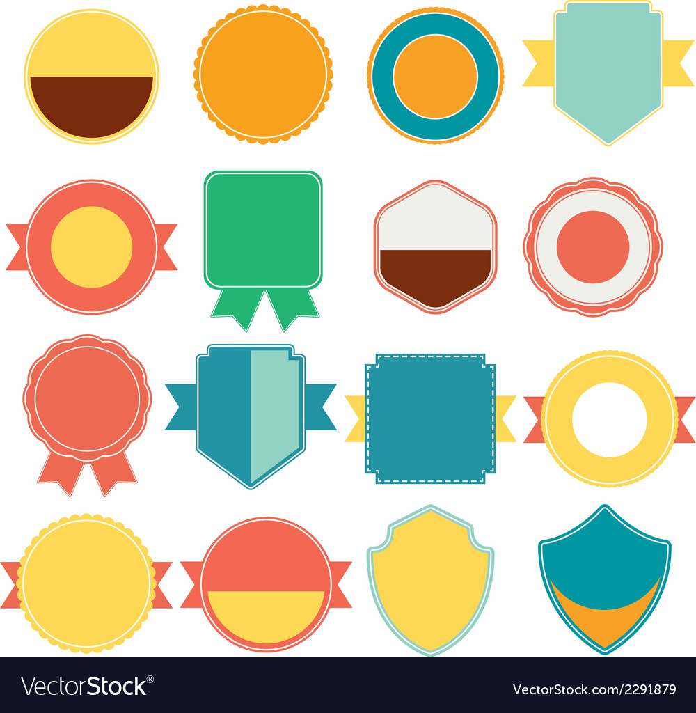 Set of color retro vintage badges and labels vector | Price: 1 Credit (USD $1)