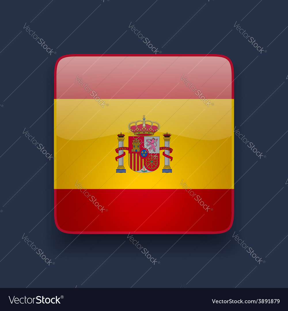 Square icon with flag of spain vector | Price: 1 Credit (USD $1)