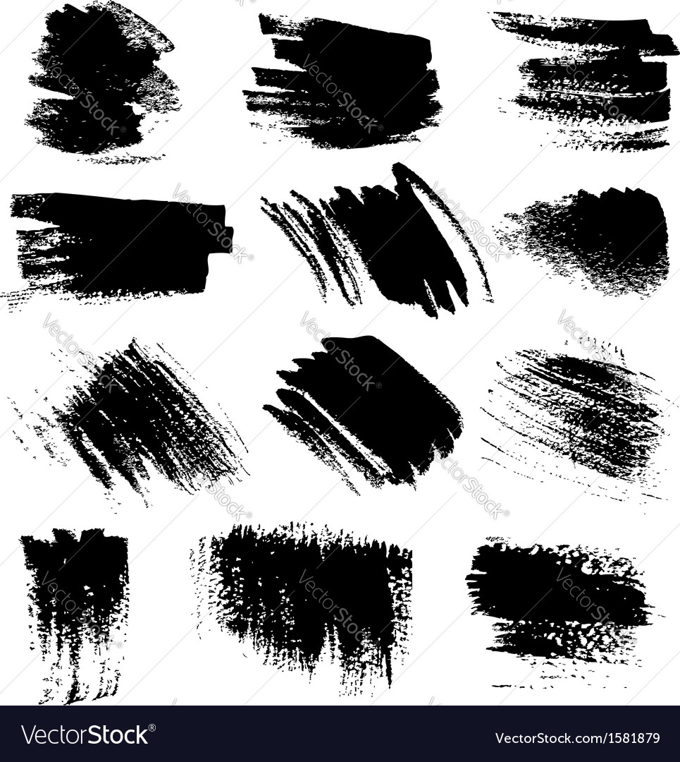 Textured brush strokes drawn a flat brush and ink vector | Price: 1 Credit (USD $1)