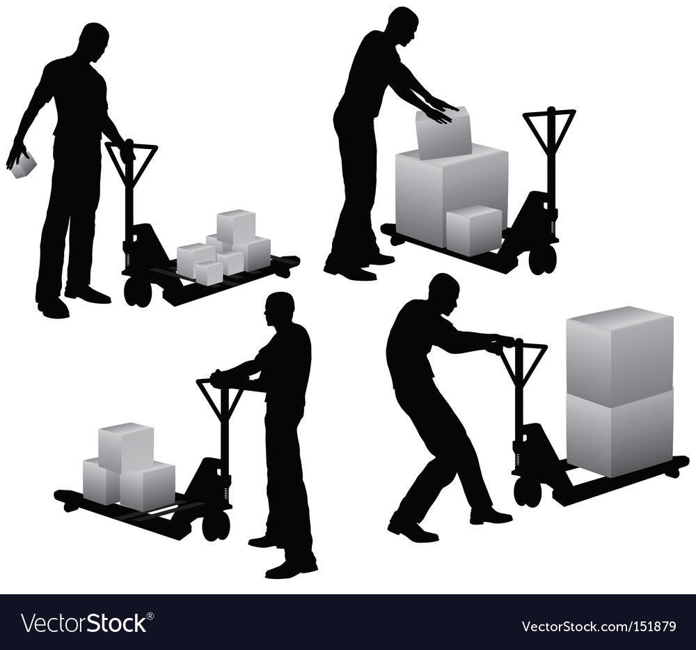 Workers loading boxes vector | Price: 1 Credit (USD $1)
