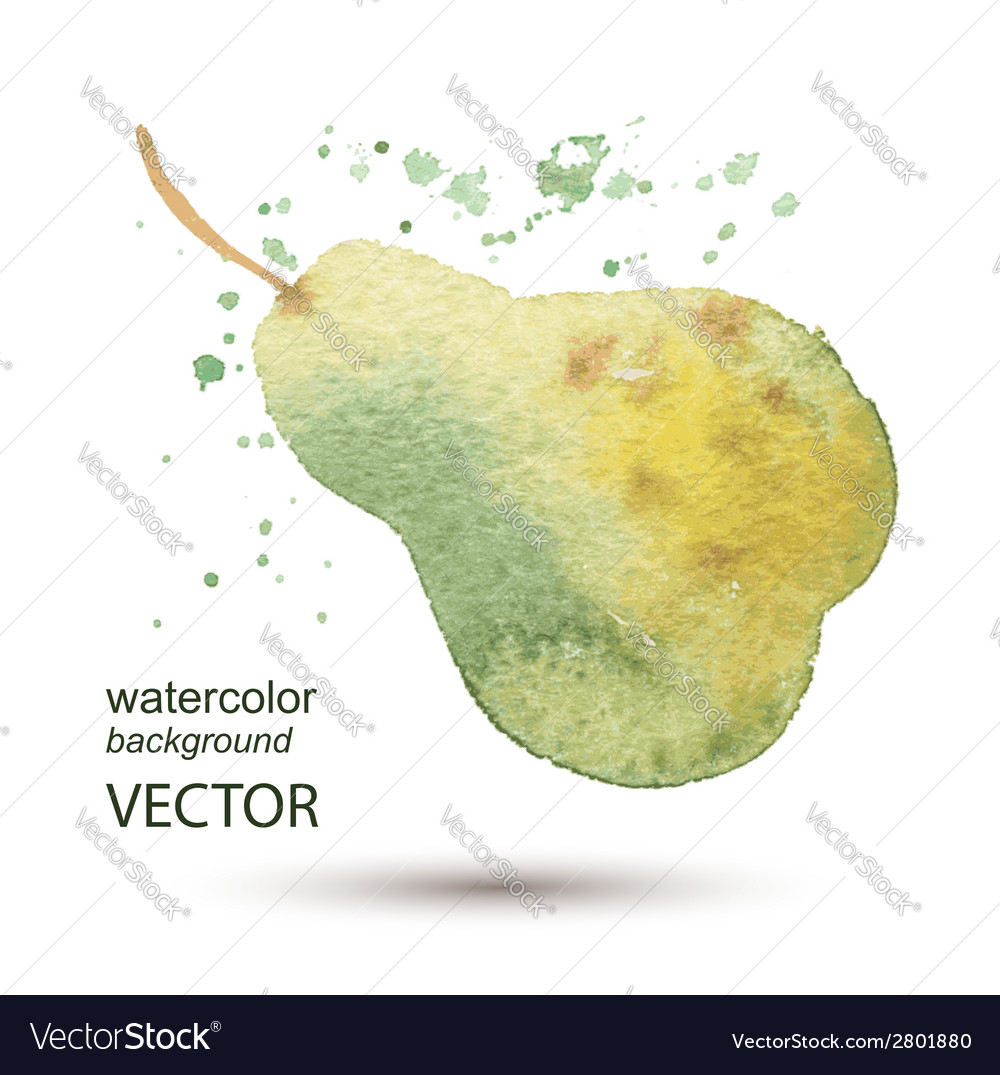 Abstract pear watercolor hand painted background vector | Price: 1 Credit (USD $1)