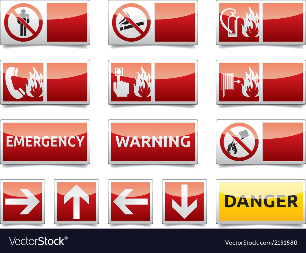 Danger warning sign set vector | Price: 1 Credit (USD $1)