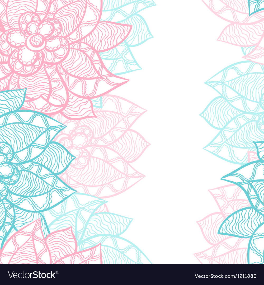 Floral border with abstract hand drawn flowers vector | Price: 1 Credit (USD $1)