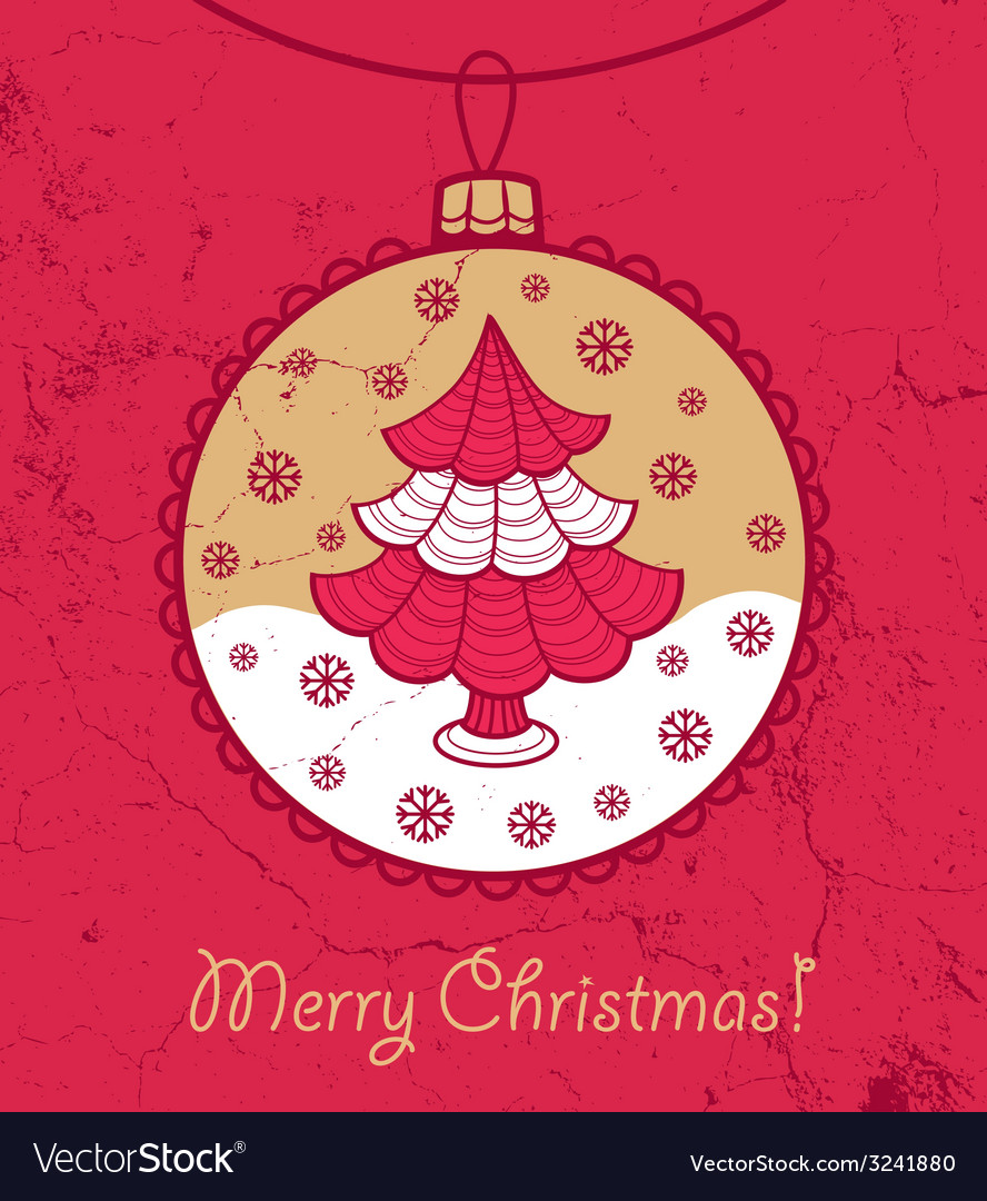 Greeting card with ball and christmas tree vector | Price: 1 Credit (USD $1)